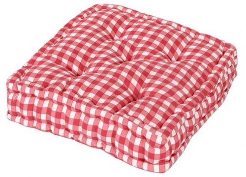 PINK COLOUR GINGHAM CHECK DINING / GARDEN CHAIR BOOSTER CUSHION SEAT PAD
